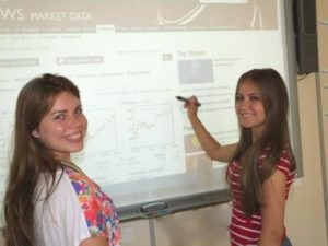 Englischkurse in London - girls working on whiteboard